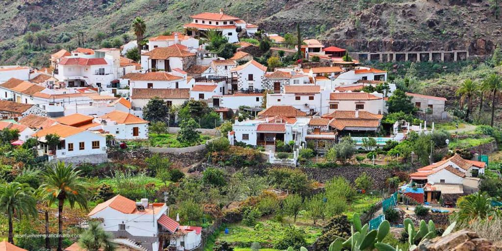 Blick auf das Dorf Fataga, Gran Canaria